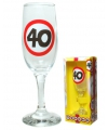 Champagne glas 40 jaar verkeersbord